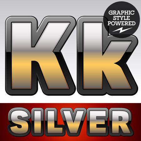 shiny argent: Vector set of gradient silver font with black border. Letter K