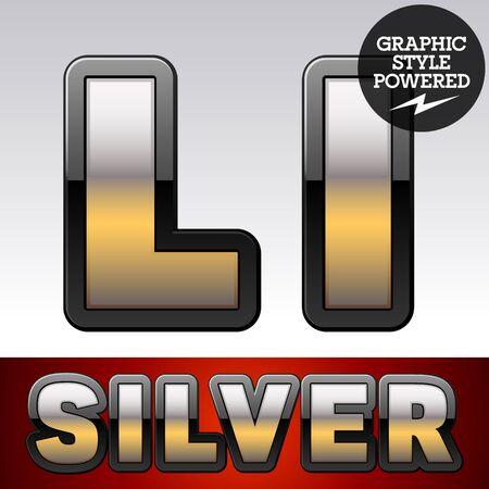 argent: Vector set of gradient silver font with black border. Letter L