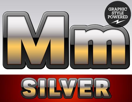 Vector set of gradient silver font with black border. Letter M Illustration