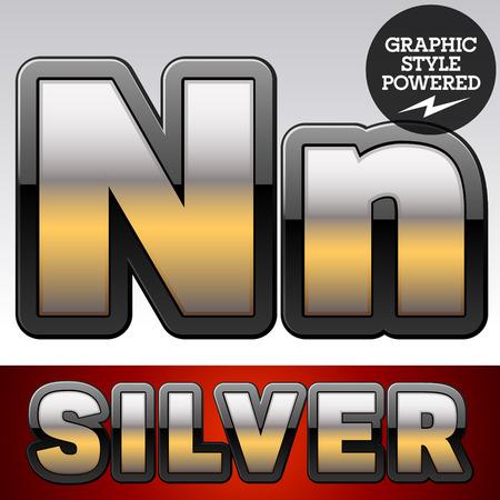 argent: Vector set of gradient silver font with black border. Letter N Illustration