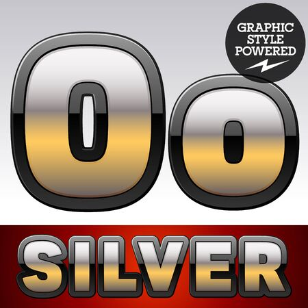 Vector set of gradient silver font with black border. Letter O