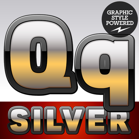 argent: Vector set of gradient silver font with black border. Letter Q