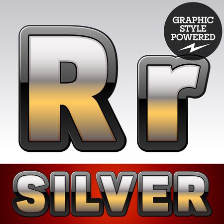 shiny argent: Vector set of gradient silver font with black border. Letter R Illustration