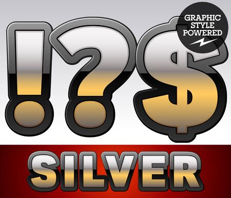 argent: Vector set of gradient silver font with black border. Symbols