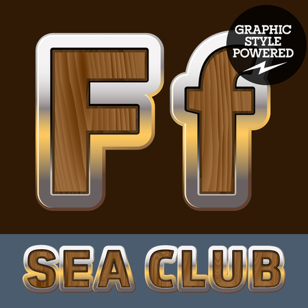 Vector set of elite old styled font in sea club theme. Letter F