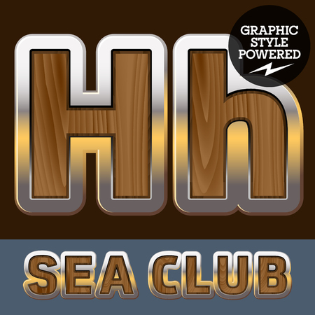 Vector set of elite old styled font in sea club theme. Letter H  イラスト・ベクター素材