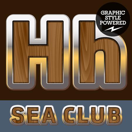 elite: Vector set of elite old styled font in sea club theme. Letter H Illustration
