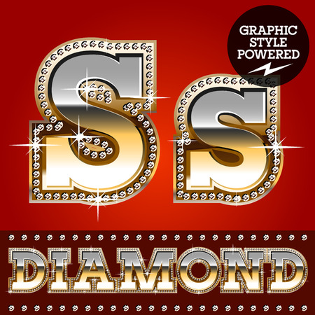platinum: Vector set of luxury font in gold color with diamond border. Letter S