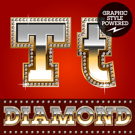letter t: Vector set of luxury font in gold color with diamond border. Letter T