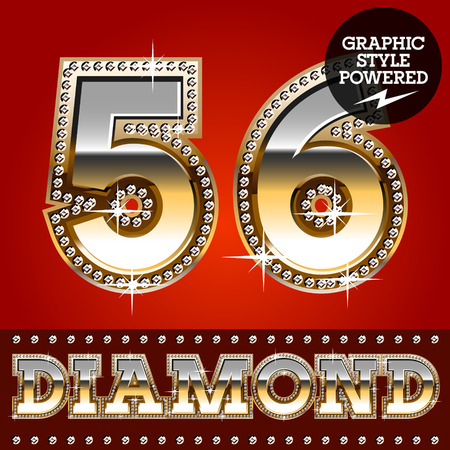 5 6: Vector set of luxury font in gold color with diamond border. Numbers 5 6
