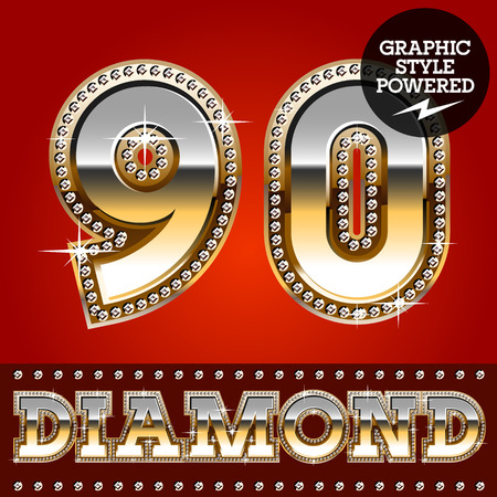Vector set of luxury font in gold color with diamond border. Numbers 9 0