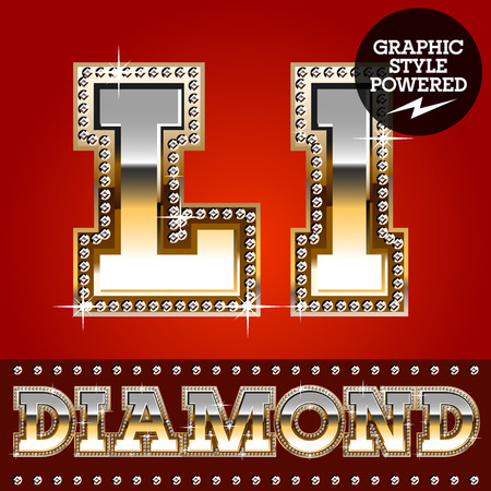 Vector set of luxury font in gold color with diamond border. Letter L 일러스트