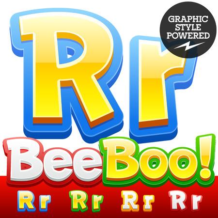 stile: Insieme vettoriale di 3D bambini colorati di carattere in stile cartone animato. Opzionali colori diversi. Lettera R