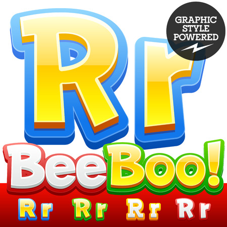 Vector set of 3D colorful children font in cartoon style. Optional different colors. Letter R
