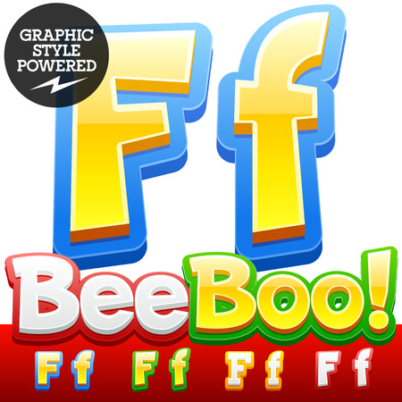 childhood: Vector set of 3D colorful children font in cartoon style. Optional different colors. Letter F