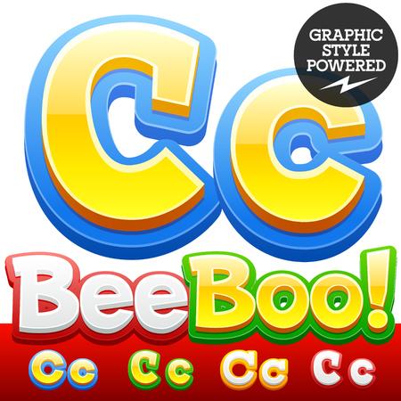 3 D のカラフルな子供漫画のスタイルのフォントのベクトルを設定します。省略可能なさまざまな色。文字 C