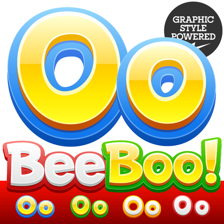 cocao: Vector set of 3D colorful children font in cartoon style. Optional different colors. Letter O