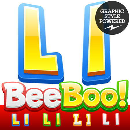 l: Vector set of 3D colorful children font in cartoon style. Optional different colors. Letter L