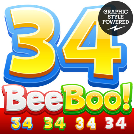 style: Vector set of 3D colorful children font in cartoon style. Optional different colors. Numbers 3 4 Illustration
