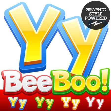 Vector set des enfants colorés 3D polices dans le style de bande dessinée. Couleurs en option différents. Lettre Y Banque d'images - 39757993