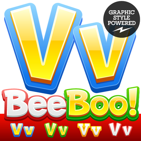 optional: Vector set of 3D colorful children font in cartoon style. Optional different colors. Letter V Illustration