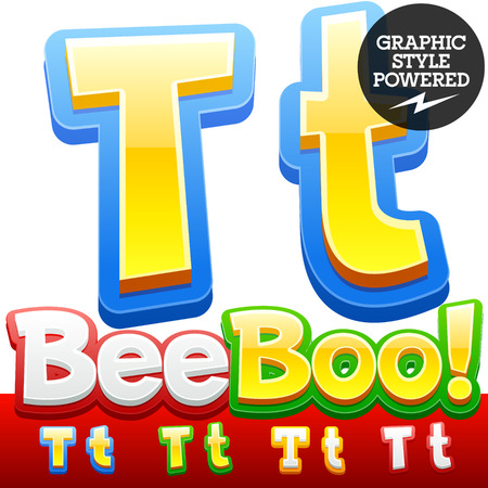 style: Vector set of 3D colorful children font in cartoon style. Optional different colors. Letter T Illustration