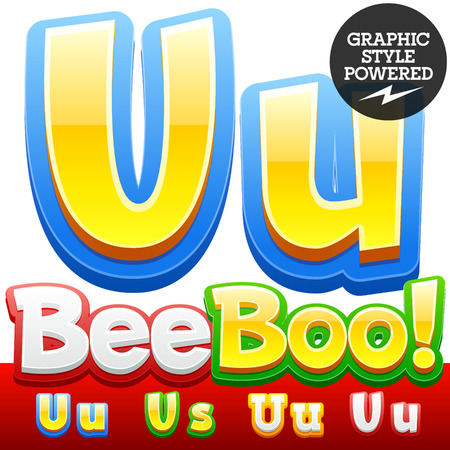 childhood: Vector set of 3D colorful children font in cartoon style. Optional different colors. Letter U