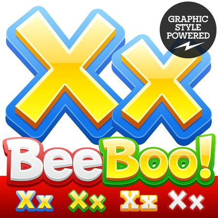 abc kids: Vector set of 3D colorful children font in cartoon style. Optional different colors. Letter X