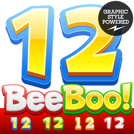 Vector set of 3D colorful children font in cartoon style. Optional different colors. Numbers 1 2 Иллюстрация