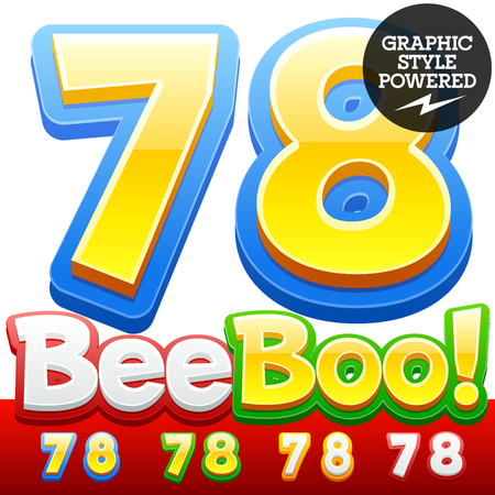 style: Vector set of 3D colorful children font in cartoon style. Optional different colors. Numbers 7 8