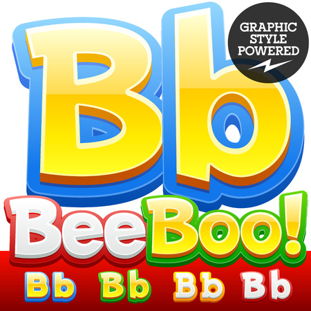 kids abc: Vector set of 3D colorful children font in cartoon style. Optional different colors. Letter B