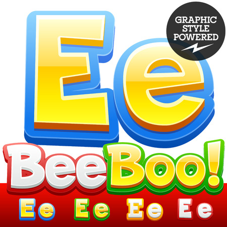 letter e: Vector set of 3D colorful children font in cartoon style. Optional different colors. Letter E