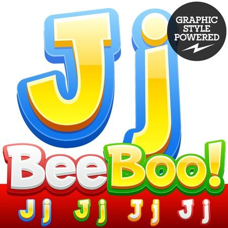 J: Vector set of 3D colorful children font in cartoon style. Optional different colors. Letter J