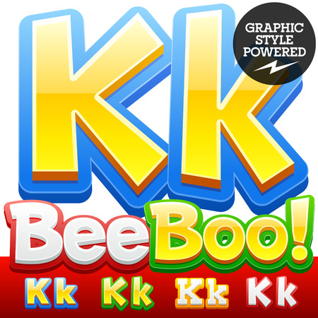 letter k: Vector set of 3D colorful children font in cartoon style. Optional different colors. Letter K