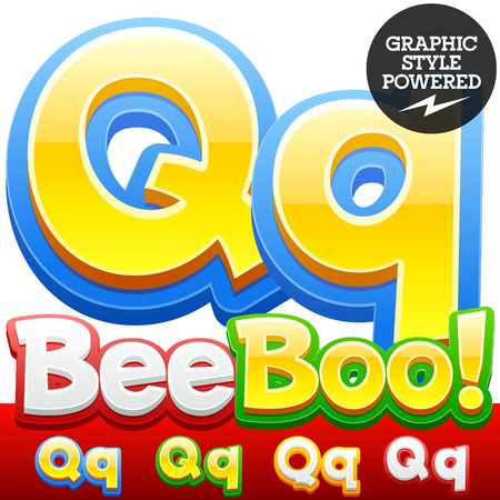 abc kids: Vector set of 3D colorful children font in cartoon style. Optional different colors. Letter Q