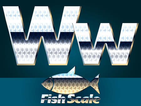 gloss: Vector set of fish scale font. Stylish gloss font. Letter W