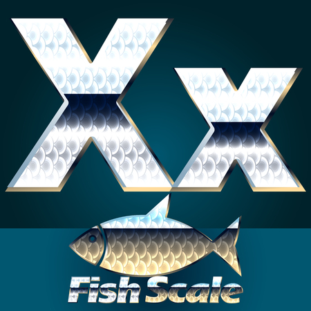 gloss: Vector set of fish scale font. Stylish gloss font. Letter X