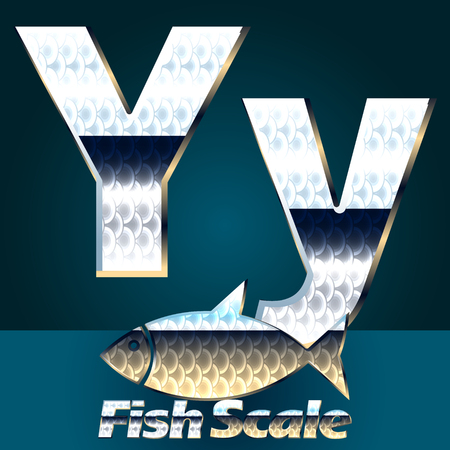 scale icon: Vector set of fish scale font. Stylish gloss font. Letter Y