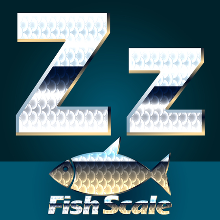 gloss: Vector set of fish scale font. Stylish gloss font. Letter Z