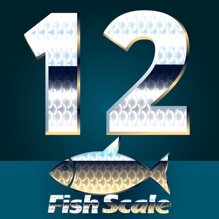gloss: Vector set of fish scale font. Stylish gloss font. Numbers 1 2