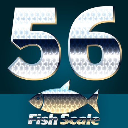 fish scale: Vector set of fish scale font. Stylish gloss font. Numbers 5 6 Illustration