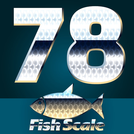 gloss: Vector set of fish scale font. Stylish gloss font. Numbers 7 8 Illustration