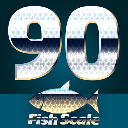 gloss: Vector set of fish scale font. Stylish gloss font. Numbers 9 0