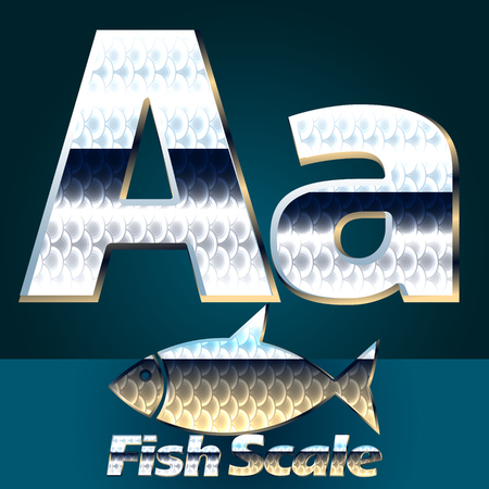 gloss: Vector set of fish scale font. Stylish gloss font. Letter A