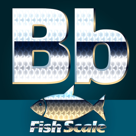scale icon: Vector set of fish scale font. Stylish gloss font. Letter B Illustration
