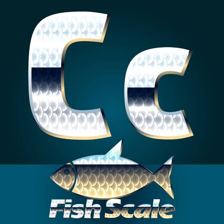 gloss: Vector set of fish scale font. Stylish gloss font. Letter C