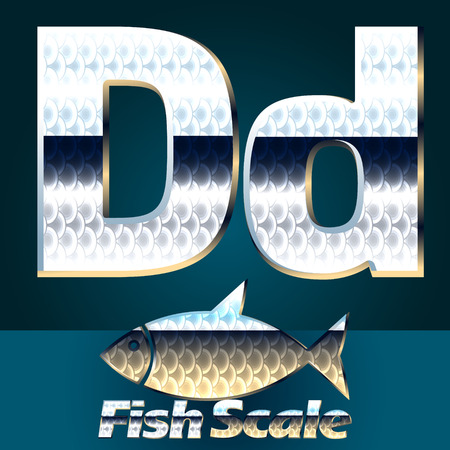 fish scale: Vector set of fish scale font. Stylish gloss font. Letter D
