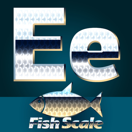gloss: Vector set of fish scale font. Stylish gloss font. Letter E Illustration