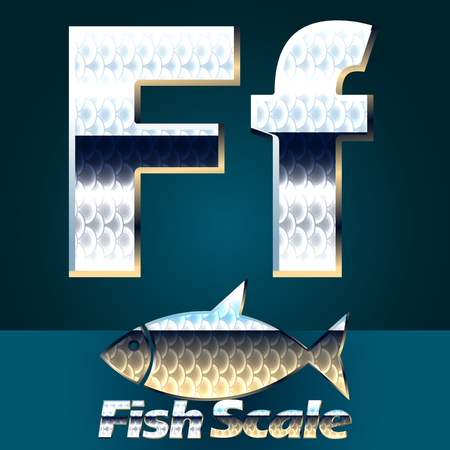 gloss: Vector set of fish scale font. Stylish gloss font. Letter F