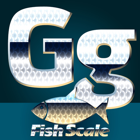 scale icon: Vector set of fish scale font. Stylish gloss font. Letter G Illustration